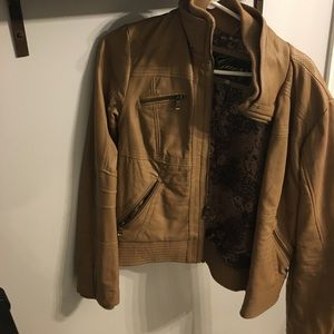 GUESS Tan Leather Jacket